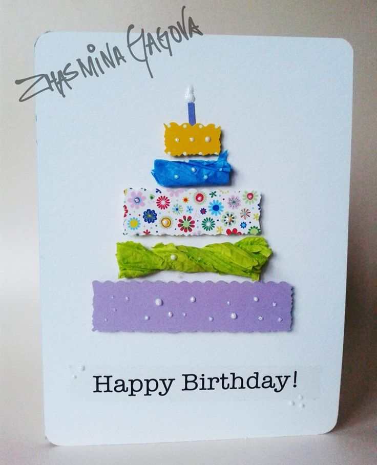 Handmade birthday card. Great way to use the leftover paper