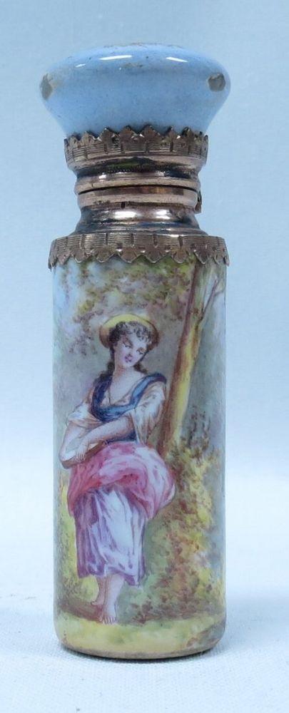 "Antique Silver & Enamel Perfume Bottle France 1910 L 2.3"""