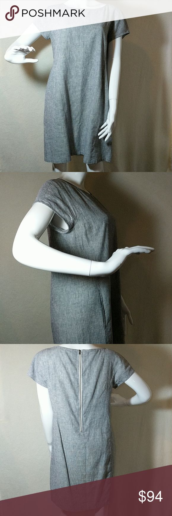 "Eileen Fisher Dress EUC, Denim blue and white, seersucker dress, 55% hemp and 45% organic cotton, back zipper, 20"" pit to pit, 35"" in length, size S/P, 💖 please no low ball offers💖 Eileen Fisher Dresses Mini"