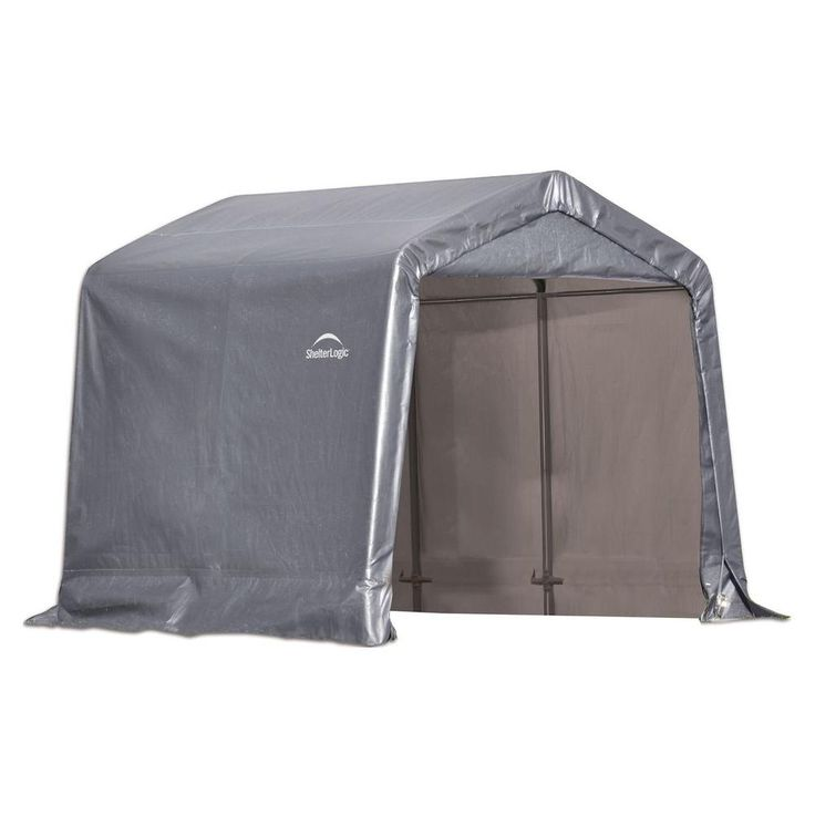 ShelterLogic Shed-in-a-Box 8 ft. x 8 ft. x 8 ft. Grey Peak Style Storage Shed-70423.0 at The Home Depot