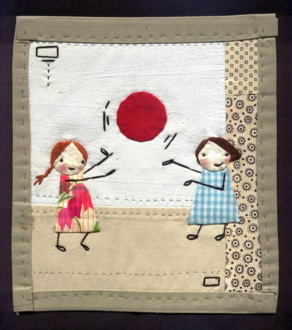 Little QuiltPlaying Catch by shelece on Etsy