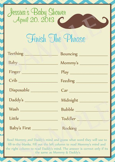 Mustache Baby Shower Games Printable By Moments2celebrate