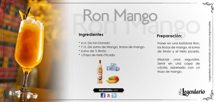 Cocktail: Ron Mango, Ron Legendario Ingredientes: -4cl. de Ron Dorado. -7 cl. de zumo de mango, trozos de mango. -zumo de 1/2 limón. -hielo picado.  Preparación: Poner en una batidora Ron, los trozos de mango, el zumo de mango y el hielo picado.    Mezcla unos segundos, sirve en una copa de cóctel, adornado con un trozo de mango.  Conoce más sobre Ron Legendario en www.legendario.com www.facebook.com/ronlegendario.es