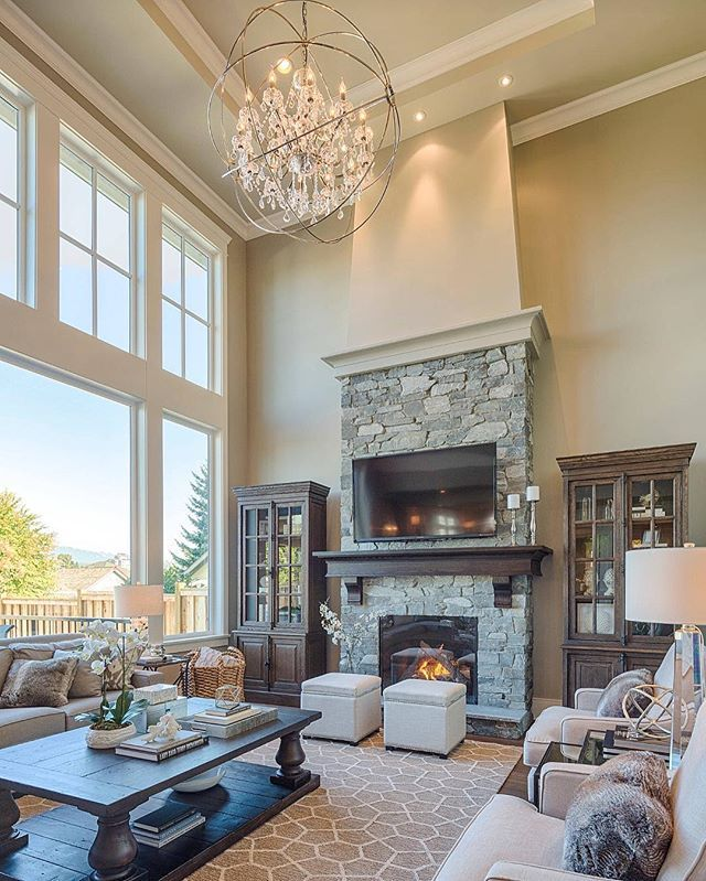 Large Family Room Design Part - 33: Large Living Room With Two Story Windows, Gorgeous Lighting, Large Area  Rug, Stone Fireplace Clay Construction Inc.