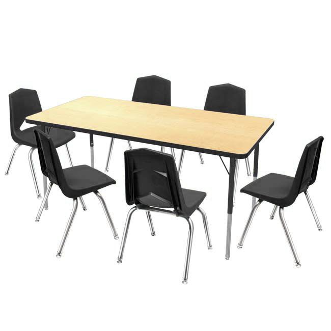 One 30 X 72 Activity Table Six 16 Stack Chair Package Activity Table Rectangular Table Furniture