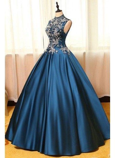 Ballkleid bodenlangen Kragen mit langen Ärmeln Elastic Woven Satin Abendkleider # AM459 – Haute Couture-Kleider