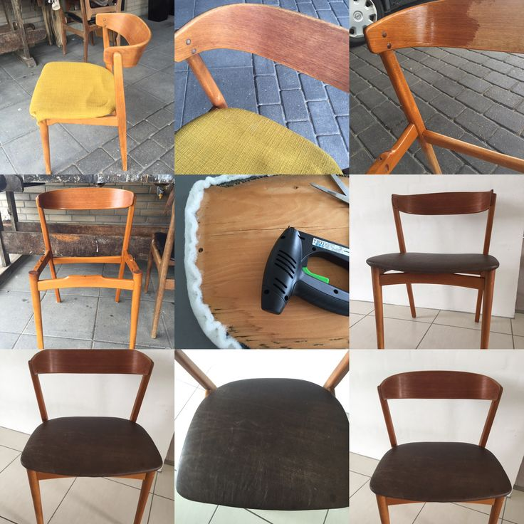 Secondhand teak chair. Before and after upcycling.