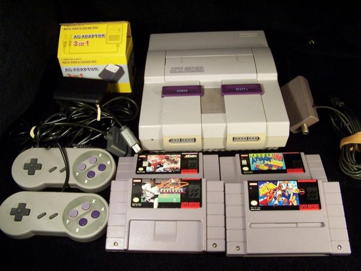 SUPER NINTENDO CONSOLE SNS-001 AND 4 GAMES BUNDLE  TETRIS ATTACK-