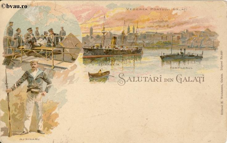 """Salutări din Galaţi, Galati, Romania, anul [189_?].  Imagine din colecţiile Bibliotecii Jedeţene """"V.A. Urechia"""" Galaţi."""