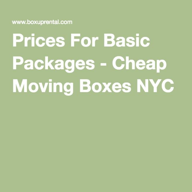 Prices For Basic Packages - Cheap Moving Boxes NYC