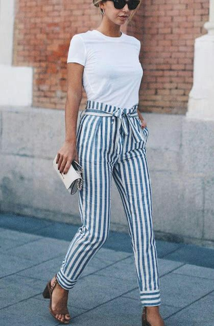 Paper bag pants in stripes & white tee