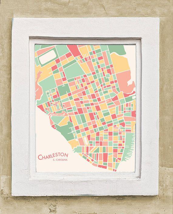 Charleston SC Abstract Illustration Map Print  Abstract