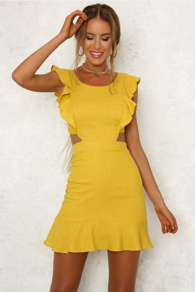 0069cbed90c Waiting Forever Dress Mustard Summer Cocktail Attire