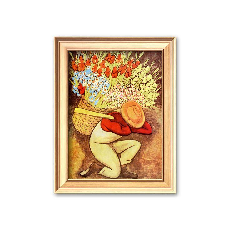 Art.com El Vendedora De Flores Framed Art Print by Diego Rivera, Multicolor