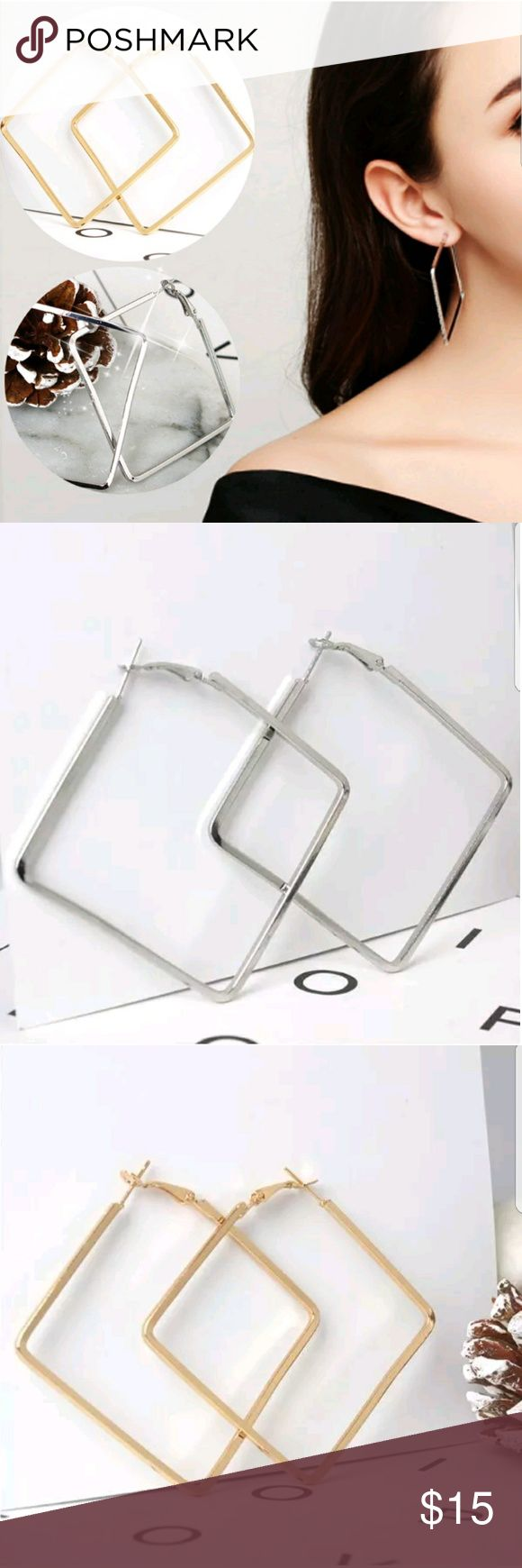 ANY 4 PAIRS FOR  $15! Square earrings! Square earrings & smaller heart earrings. Avail in Silver or Gold. They are priced great! Bundle & save on shipping! Choose Gold or Silver in Options. Once you add 4 pairs to your bundle, submit offer for $15 & it will be accepted! Gold stock# 152 Silver Stock # 252 Jewelry Earrings