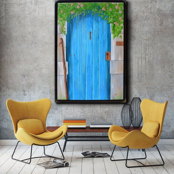 Blue Door A 24x36 Acrylic Painting Of A Door Leading To Mystery