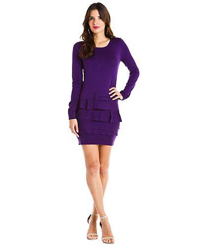 BCBGMAXAZRIA Plum Berry Ruffle Hem Sweater Dress from Rue La La