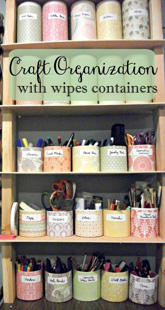 Cut Clorox wipes containers in half to organize craft supplies.                                                                                                                                                     More