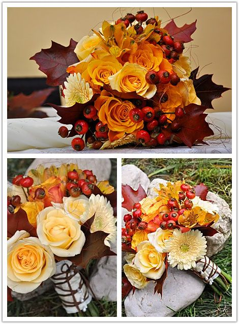 Fall wedding bouquet with orange roses, leaves and chrysanthemum