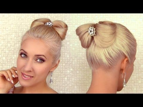 Hair bow updo tutorial Prom hair tutorial Elegant Valentine's hairstyle for medium long hair