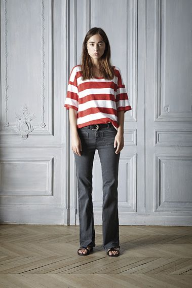 #spring #outfit #style #brushprint #top #organic #cotton #orange #white #grey #fashion #womenswear