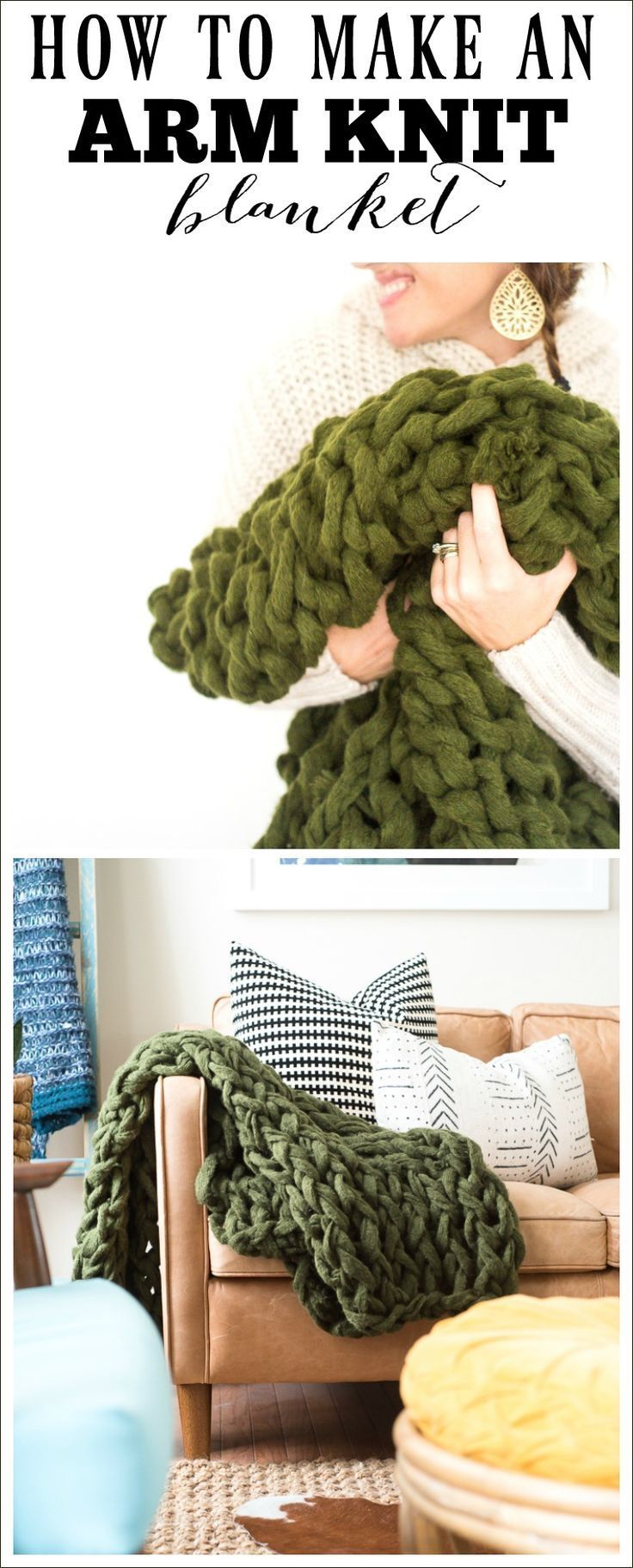 DIY Craft: Learn how to make an arm knit blanket! Easy tutorial of a basic arm knit blanket. This cozy arm knit blanket will be a great addition to any home!