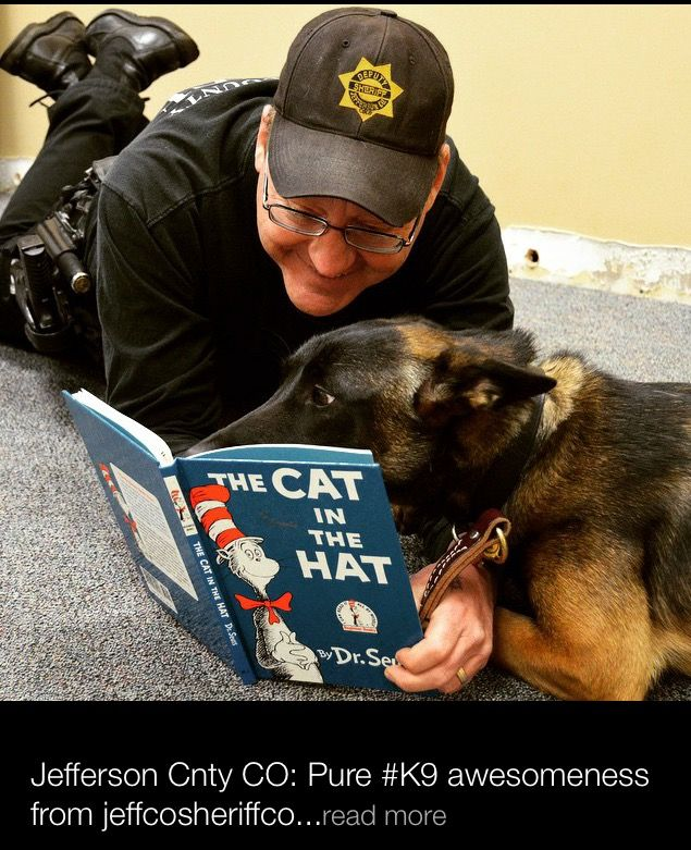 German Shepherd K9 Police & Handler reading a book together! So sweet! God Bless all Working K9s!