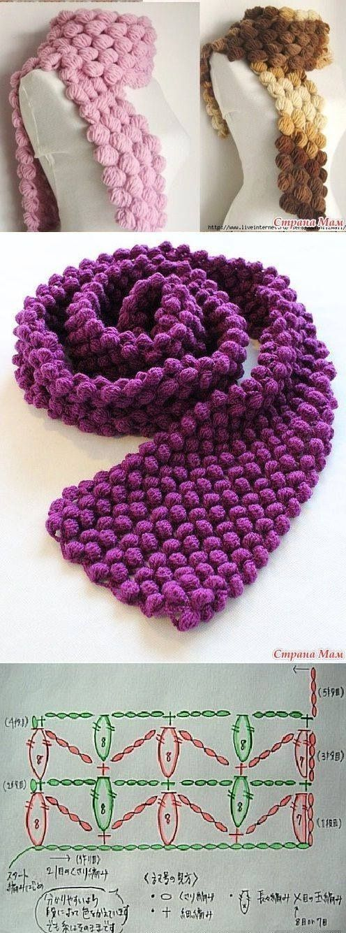 Tutorial y patron bufanda crochet
