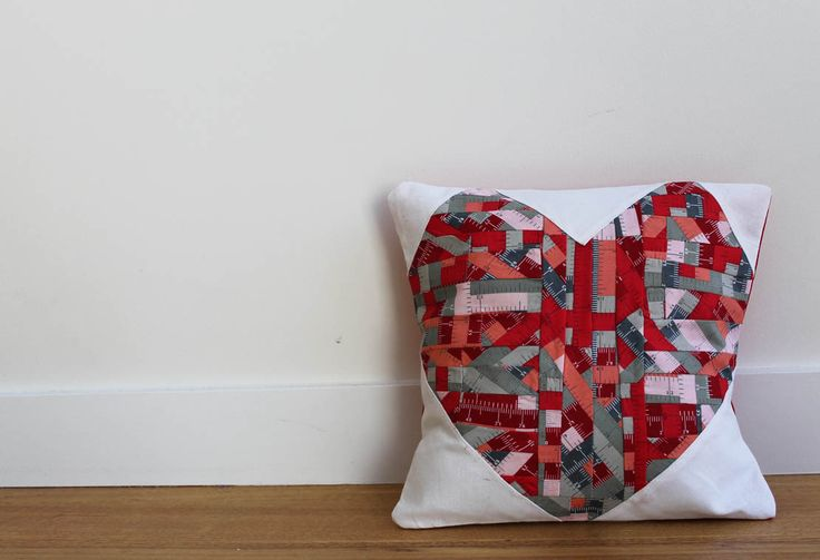 patchy heart cushion, hipster ruler fabric in red #rileyblake