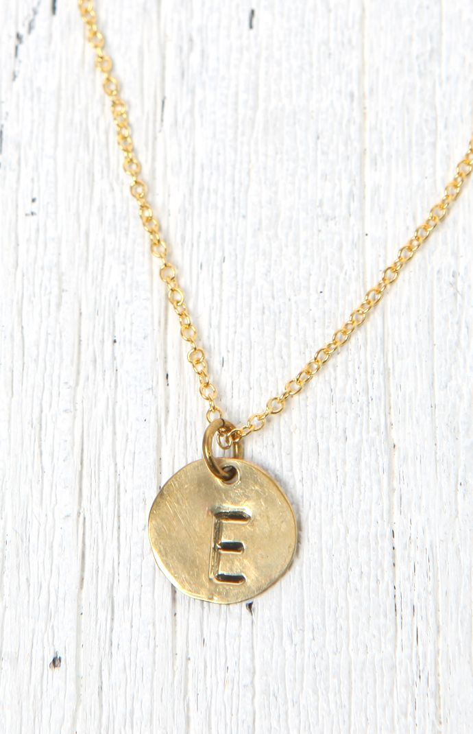 'E' Stamped Necklace