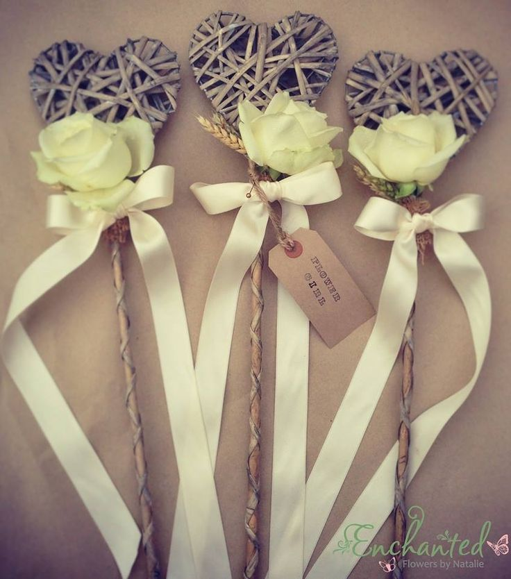 Rustic flower girl wand with wheat & avalanche rose. www.facebook.com/enchantedflowersbynatalie www.enchantedflowersbynatalie.co.uk More