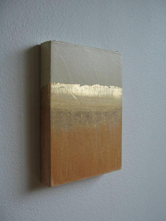 Estratos de oro--vendido-Resumen, mezclan medios pintura con oro de hoja en Panel