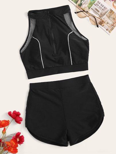 Racerback-Oberteil mit Reißverschluss und Shorts und zweiteiligem Badeanzug