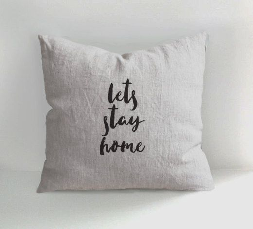 Lets Stay Home - HAND DRAWN LINEN PILLOW If you need a unique linen pillow…