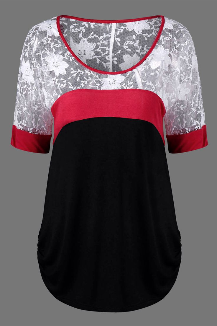 $13.27 Lace Trim Curved Hem Ringer Blouse - Black And White And Red
