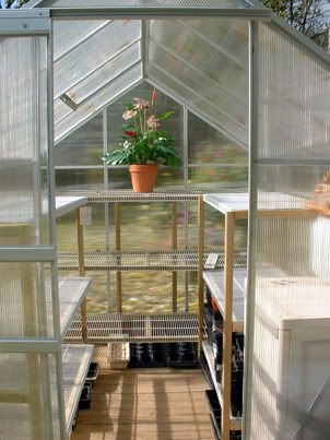 37 best images about greenhouses accessories on for Inexpensive greenhouse shelving wood
