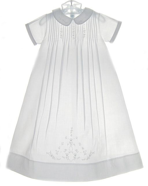 Feltman Brothers Long Christening Gown with Pintucks and Embroidery 120
