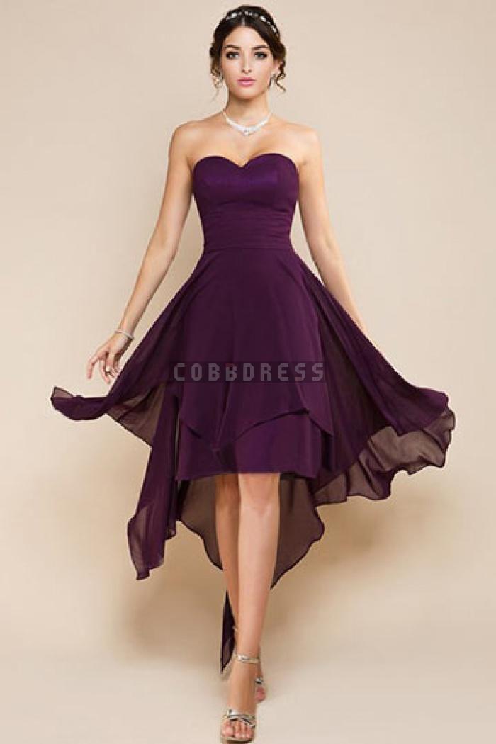 Chiffon A-line Asymmetric Hem Draping Bridesmaid Dress