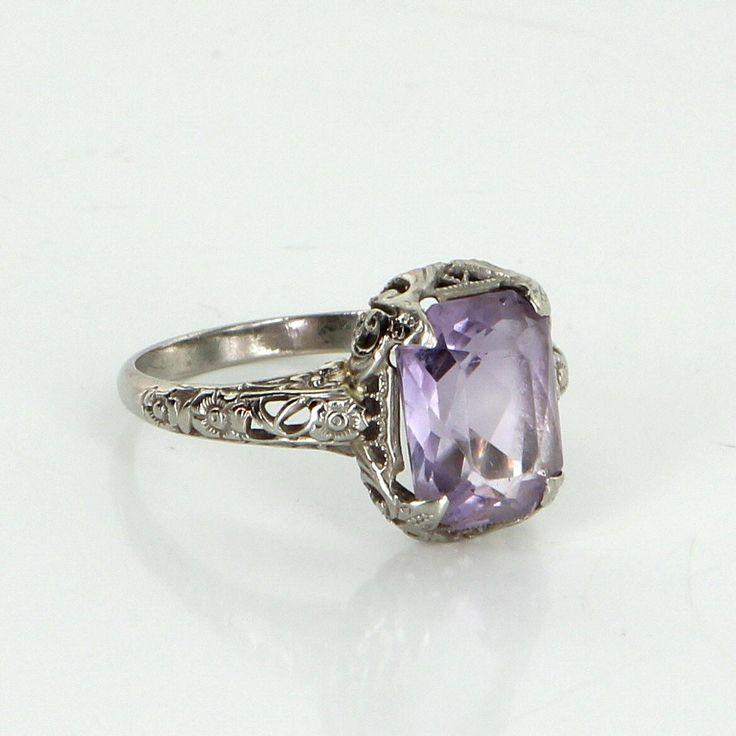 Vintage Art Deco Amethyst Filigree Ring 14 Karat White Gold Estate Fine Jewelry
