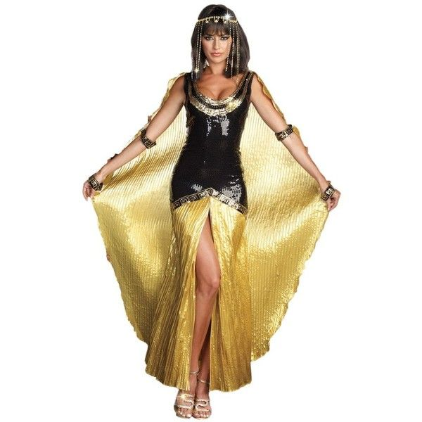 Cleopatra Costume for Women (575 DKK) ❤ liked on Polyvore featuring costumes, dresses, halloween costumes, multicolor, ladies costumes, sexy ladies costumes, womens cleopatra costume, sexy women halloween costumes and sequin costume