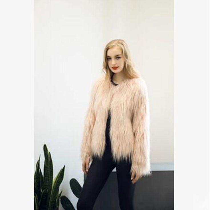Fluffy faux fur coat women 2016 warm chic female outerwear Black elegant autumn winter jacket coat hairy plus size overcoat
