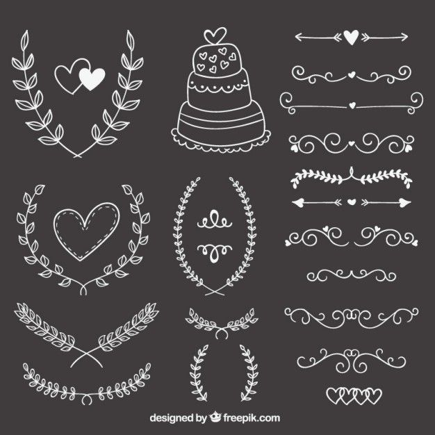 Free vector Hand drawn wedding ornaments on blackboard #14896