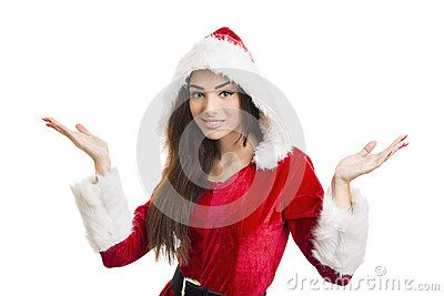Portrait of smiling pretty woman in red Santa Claus costume with hood shrugging against white background.  Download Christmas Surprises Royalty Free Stock Image for free or as low as 0.69 lei. New users enjoy 60% OFF. 20,069,552 high-resolution stock photos and vector illustrations. Image: 35595586