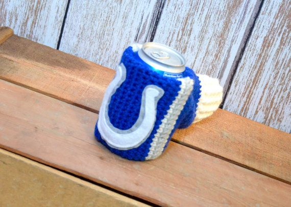 Handmade crocheted Indianapolis Colts Inspired Blue Gray White drink beer beverage mitt koozie cozy tailgating football for sale by NorthwoodsThreads