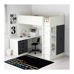 IKEA - STUVA, Combi lit mezz+4 tir/2 ptes, blanc/noir, , Ce lit mezzanine offre une solution complète pour la chambre de votre enfant, avec un bureau, une armoire et une étagère.Vous pouvez, selon vos besoins, assembler le bureau de façon parallèle ou perpendiculaire au lit ou le compléter par 2 pieds ADILS, si vous préférez qu'il soit indépendant.Si vous assemblez le bureau perpendiculairement au lit, vous pouvez accéder à l'armoire des deux côtés.Pour éviter le risque de chute…