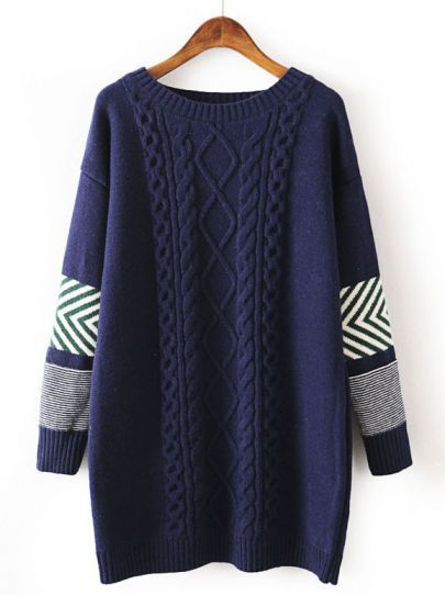 Navy Long Sleeve Striped Cable Knit Sweater pictures