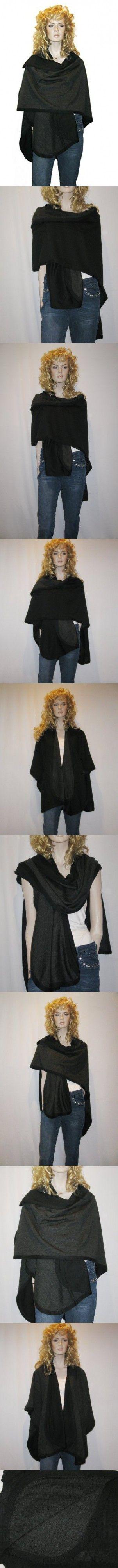 Cashmere Pashmina Group- Cape Woolen Reversible Ruana Knitted Poncho Shawl Cardigans Sweater Coat (Black/Charcoal)