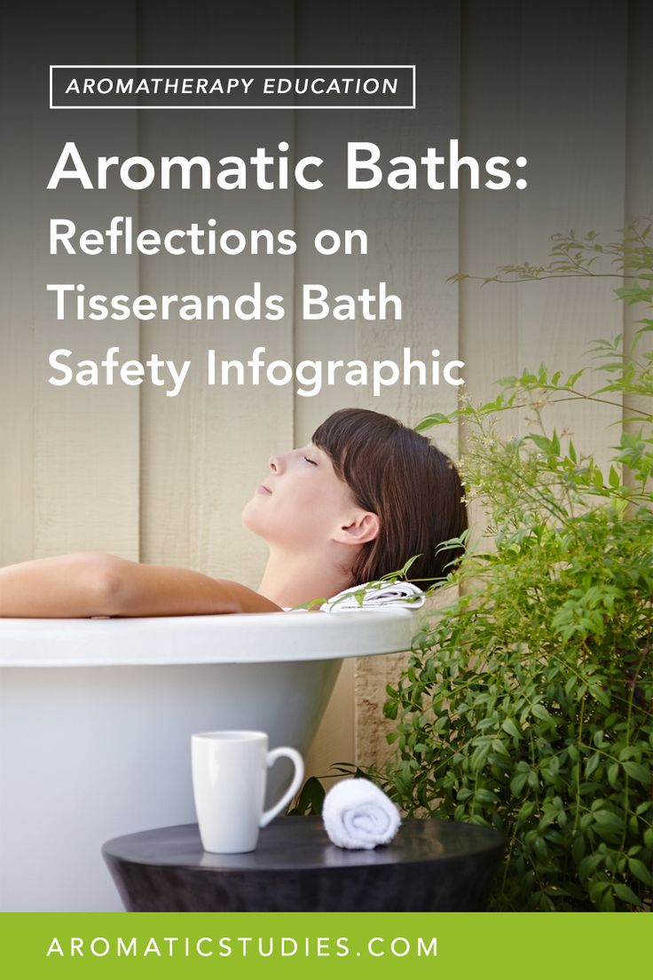 Learn how to use essential oils in the bath, but first, question the infographic about bath safety.