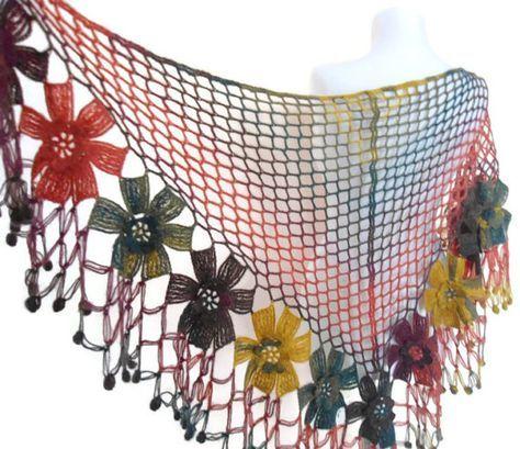 flower shawl ,crochet shawl, wedding ,bride,Rainbow shawl, christmas gift,  fall fashion,  valentine, winter trends, 2014