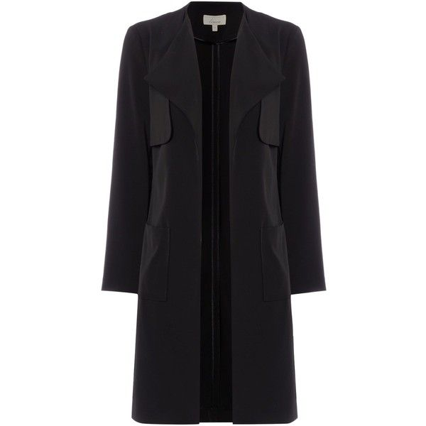Linea Sarah soft tailored duster coat (£69) ❤ liked on Polyvore featuring outerwear, coats, black, women, black duster coat, tailored coat, knee length coat, long sleeve coat y linea